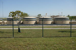 Natural Gas storage tanks at fraced pad site in Texas.